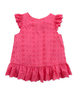 Ralph Lauren Childrenswear Little Spring Eyelet Top, Pink, Girls' 4-6X