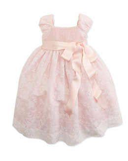 Ralph Lauren Childrenswear Smocked Floral-Print Organza Dress, 2T-3T
