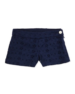 Ralph Lauren Childrenswear Eyelet Shorts, Navy, 2T-3T