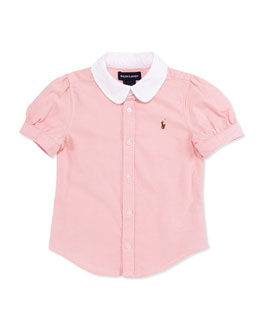 Ralph Lauren Childrenswear Short-Sleeve Oxford Shirt, Pink, Toddler Girls' 2T-3T