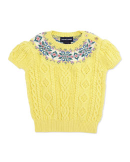 Ralph Lauren Childrenswear Short-Sleeve Fair Isle-Yoke Pullover Sweater, Toddler Girls' 2T-3T