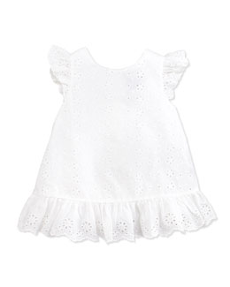 Ralph Lauren Childrenswear Little Spring Eyelet Top, White, 2T-3T