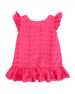 Ralph Lauren Childrenswear Little Spring Eyelet Top, Pink, 2T-3T
