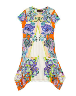 Roberto Cavalli Printed Drop-Waist Jersey Dress, 8-10