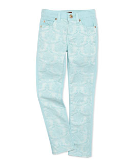 7 For All Mankind The Skinny Brocade Girls' Jeans, Blue, Sizes 8-10