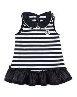 Moncler Abito Striped Sleeveless Dress, Navy/White, 3-24 Months