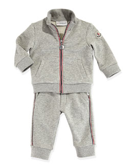 Moncler Maglia Zip Jacket and Pants, Gray, 3-24 Months