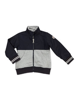 Moncler Maglia Jersey & Nylon Jacket, Black/Gray, Boys' 2T-6