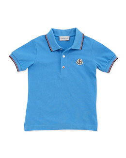 Moncler Tipped Logo Polo, Light Blue, Boys' 2T-6