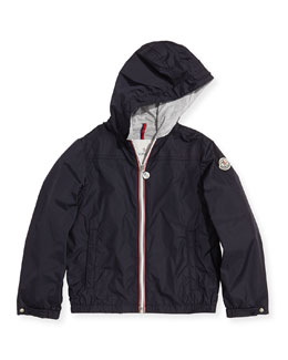 Moncler Urville Jersey-Lined Nylon Hoodie, Navy, Sizes 8-10