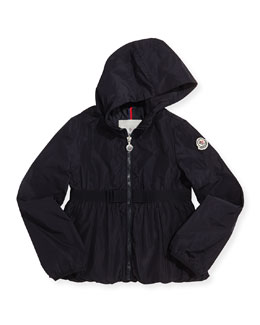 Moncler Glycine Hooded Rain Jacket, Navy, Girls' 8-10