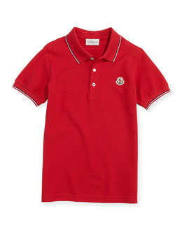 Moncler Tipped Logo Polo, Red, Boys' 8-10