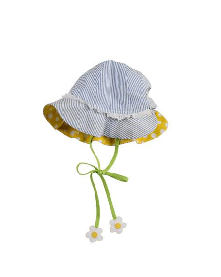 Newborn Floral-Tie Hat, Blue/White