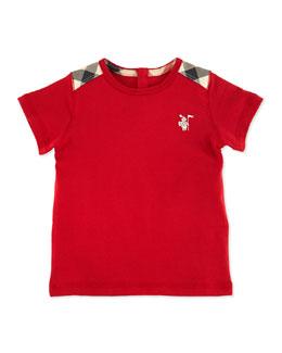 Mini-Lencel Toddler Boys' Check-Shoulder Tee, Red