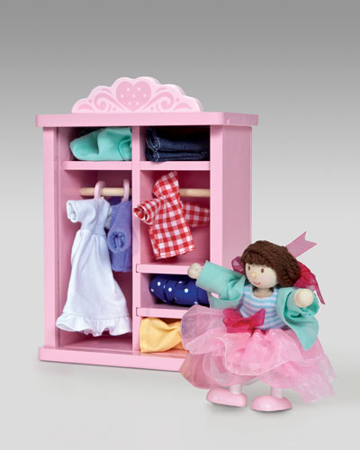 Dress Up Doll & Wardrobe Set