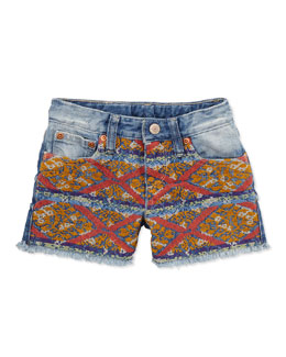Ralph Lauren Childrenswear Embroidered Denim Shorts, 2T-3T
