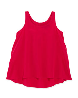 Ralph Lauren Childrenswear Georgette-Silk Tank, Pink, 2T-3T