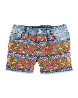 Ralph Lauren Childrenswear Embroidered Denim Shorts, Girls' 4-6X