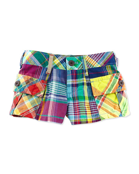 Madras-Plaid Cargo Shorts, Red, Girls' 4-6X