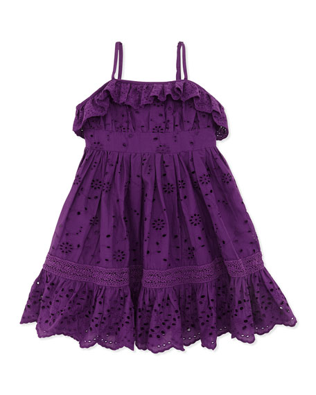 Ruffle Eyelet Sundress, Purple, Toddler Girls' 2T-3T