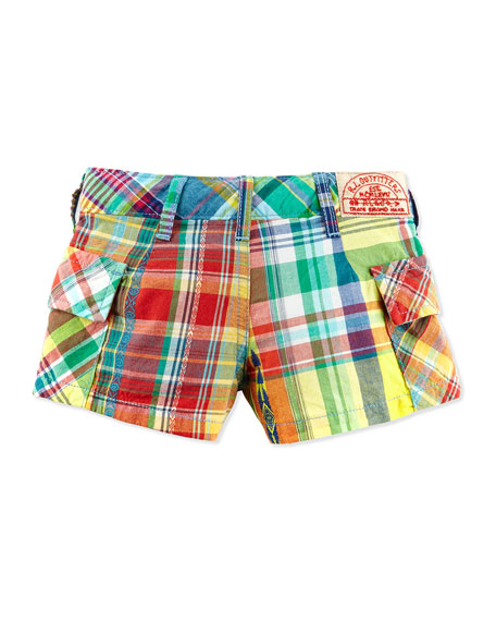 Madras-Plaid Cargo Shorts, Red, Girls' 2T-3T
