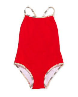 Burberry Check-Trim One-Piece Swimsuit, Red, 4Y-10Y