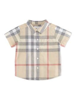 Short-Sleeve Check Shirt, Pale Classic, 3-24 Months