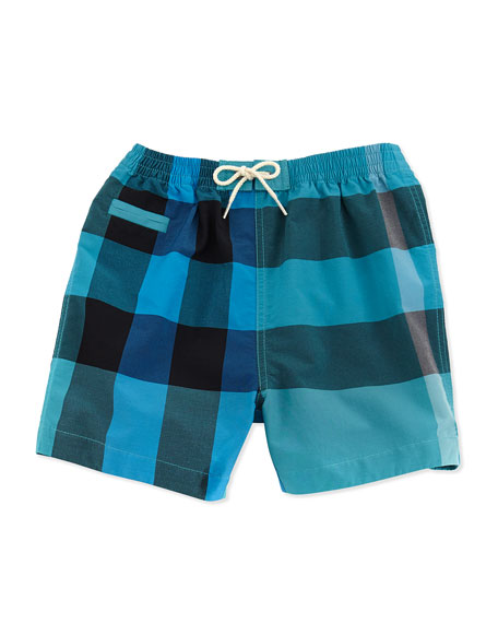 Check Swim Trunks, Blue, 3M-2Y