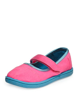 TOMS Neon Canvas Mary Jane, Pink, Tiny