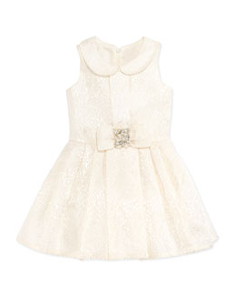 Zoe Brocade Party Dress, Ivory, Sizes 2-6