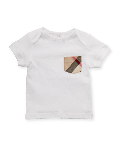 Check-Pocket Crewneck Tee, White, 3M-3Y