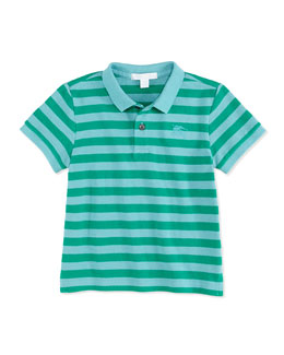 Burberry Striped Pique Polo, Green, 4Y-10Y