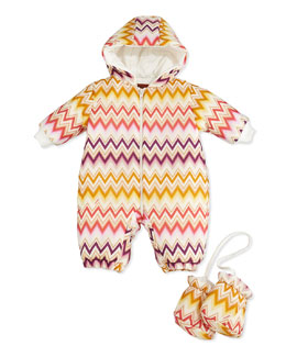 Missoni Zigzag Snow Suit & Mittens Set, 0-9 Months