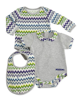 Missoni 3-Piece Zigzag Playsuit & Bib Set, Blue/Green, 0-9 Months