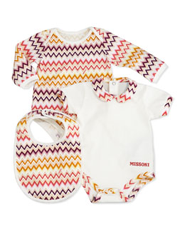 Missoni 3-Piece Zigzag Playsuit & Bib Set