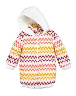 Missoni Zigzag Long Puffer Coat, Multi, Sizes 2-10