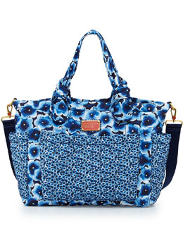MARC by Marc Jacobs Pretty Nylon Floral-Print Diaper Bag, Blue Multi