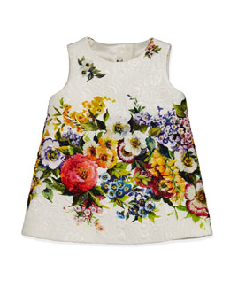Dolce & Gabbana Matelasse Shift Dress with Floral-Detail, 3-24 Months