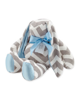 Large Plush Chevron Bunny, Slate/Blue