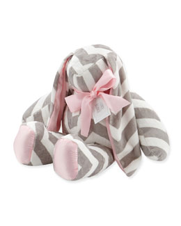 Large Plush Chevron Bunny, Slate/Pink