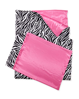 Zebra-Print Sleeping Bag & Pillowcase Set