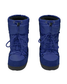 Moncler Tall Nylon Snow Boots, Blue