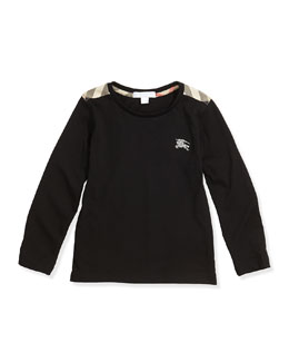 Check-Shoulder Long-Sleeve Tee, Black, 4Y-10Y