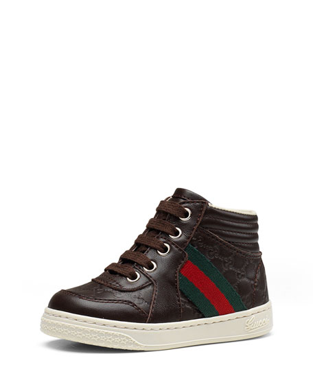 3ce1268ea2e Gucci Leather High-Top Sneaker with Web Detail