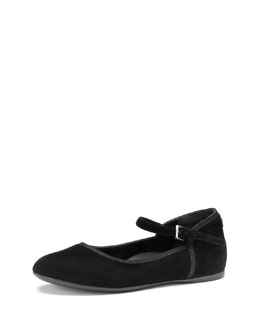 Girls' Suede Ballet Flat, Black, 10.5T-2Y