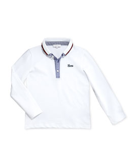 Stretch-Pique and Chambray Long-Sleeve Polo, White, 0-36 Months