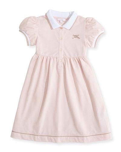 Web-Detail Short-Sleeve Polo Dress, Pink, 0-36 Months