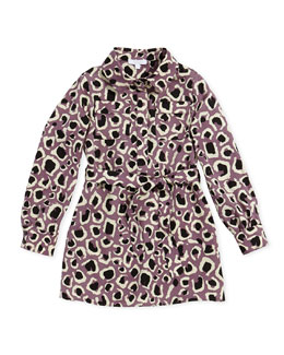 Leopard-Print Faille Shirtdress, Lilac, Girls' Sizes 4-12