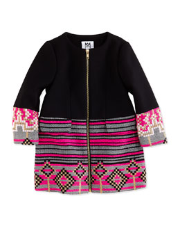 Milly Minis Geometric Jacquard Zip Coat, Black/Pink, Girls' Sizes 8-12