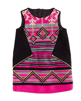 Milly Minis Jacquard/Ponte Shift Dress, Black/Pink, Girls' Sizes 2-7